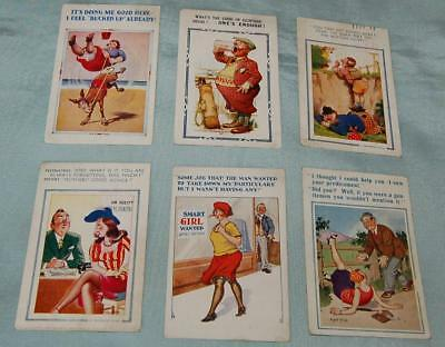 6 Vintage Saucy Seaside Postcards c1940-50s