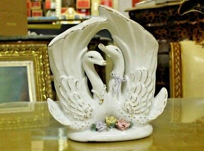 Collectible Beautiful Italian Porcelain Centerpiece - Pair of White Swan & Roses