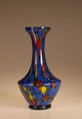 Vintage Deco Czech Glass Green Red Blue Orange & Yellow End-Of-Day Vase c.1935