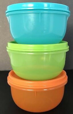 Tupperware Ideal Lit'l Bowls 3 Piece Set Small 8 oz. Snack Containers New
