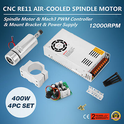 CNC Spindle Motor 400W ER11 & Mach3 PWM Controller + Mount Power Supply Kit