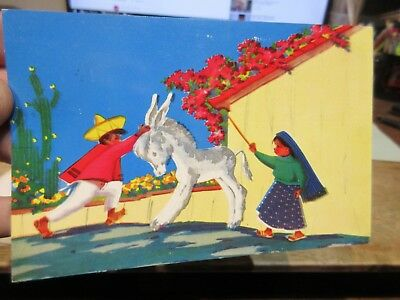Vintage Old Postcard MEXICO Mexican Motive Art Painting Children Donkey Ass Goat