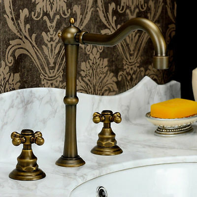 Classic Solid Brass Widespread Bathroom Faucet Vintage Basin Tap 2 Cross Handles