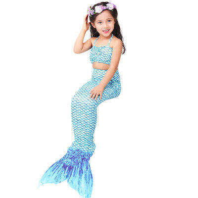 8ddc5e8ebdf53 HOTER Latest Cute Elastic Child Girl 3 Pcs Princess Mermaid Tail Print  Swimsuit