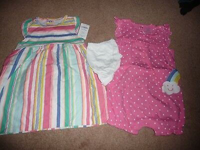 NEW NWT Carters girls size 24 months 2 pack dress/romper set stripes/butterfly
