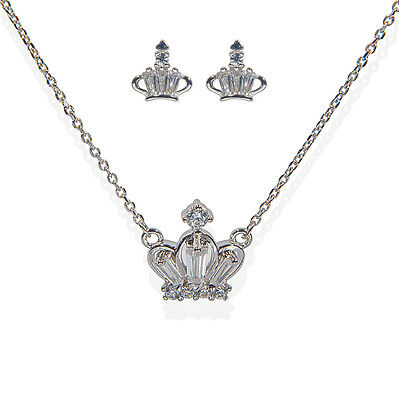 .925 Sterling Sliver Jewelry Sets Cubic Zirconia Crown Necklace Stud Earring Set