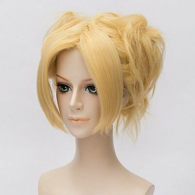 NARUTO Temari gold yellow styled curl wig costumes Cosplay Wig Anime hair