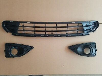 3PC Set 2010-2012 FORD FUSION Lower Grille w/ LH & RH Fog Light Lamp Bezel Pair