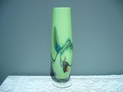 Stunning End Of Day Or Snowflake Cased & Footed Glass Vase - Green - Vgc