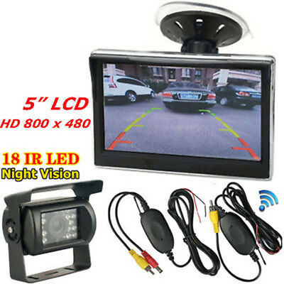"""Wireless 5"""" TFT LCD Monitor +Bus Truck Trailer 18LEDs IR Rear View Backup Camera"""