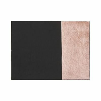 Geome Dipped Placemats, Set of 4/Rectangular, Leather Effect/Black & Rose Gold