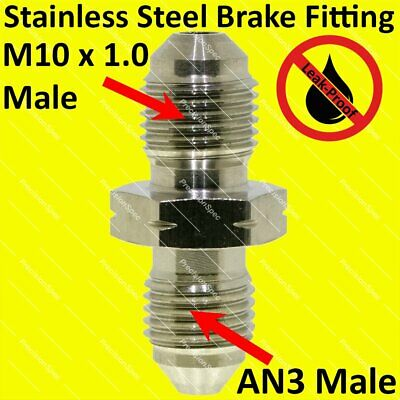 AN3 3AN to M10 x 1.0 Male Flare Union Fitting Adapter Straight Stainless Steel