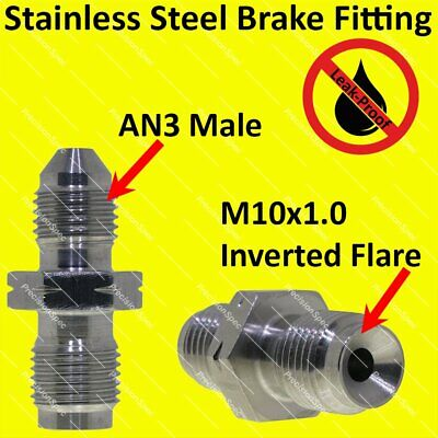 AN3 3AN to M10x1.0 Inverted Seat Stainless Steel Concave Flare Fitting Adapter