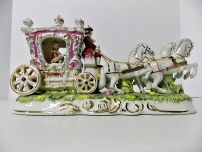 Pacelli Princess/4 Horse/Carriage Porcelain Capodimonte Style Figurine Italy