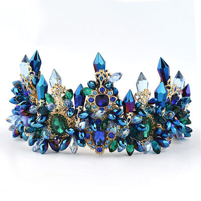 11cm High Luxury Blue Crystal Wedding Party Pageant Prom Tiara Crown Earrings
