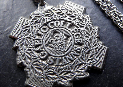vintage St Anns Gaelic College fob medal pendant chain necklace silver tone -R71