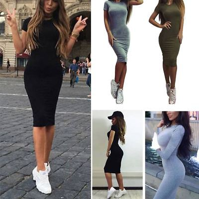 Stylish Women Short Sleeve Bodycon Casual Party Evening Cocktail Mini Dress