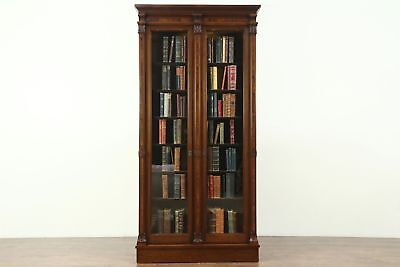 Victorian Antique 1870 Walnut & Burl 7' Tall Library Bookcase, Hand Carved