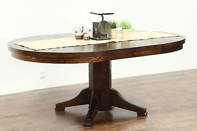 "Round Solid Oak 1910 Antique 45"" Craftsman Dining Table, 2 Leaves"