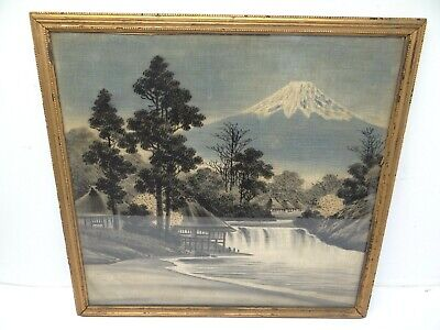 Antique Old Original Mount Fuji Japan Japanese Painting on Fabric Unsigned Art