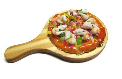 Pizza with Wooden Tray Dollhouse Miniatures Fast Food Supply Deco 2