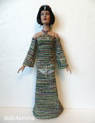 TYLER DOLL CLOTHES Egyptian Fashion handmade GOWN + BELT & JEWELRY NO DOLL d4e