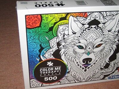 Clementoni Colour Me Therapy Wolf Jigsaw Puzzle 500 piece