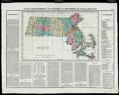 1825 ANTIQUE RARE 19thC French MAP CARTE GÉOGRAPHIQUE...MASSACHUSETTS Buchon