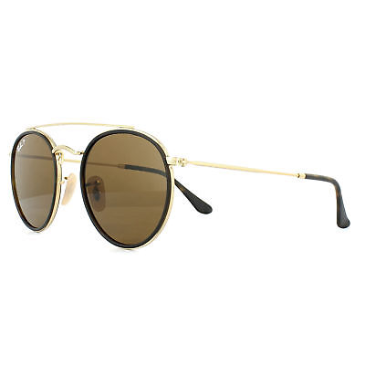 98a54518891 RAY-BAN SUNGLASSES ROUND Double Bridge 3647N 001 57 Gold Brown B-15 ...