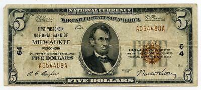 1929 $5 National Currency Note - 64 Bank of Milwaukee Wisconsin - AR648
