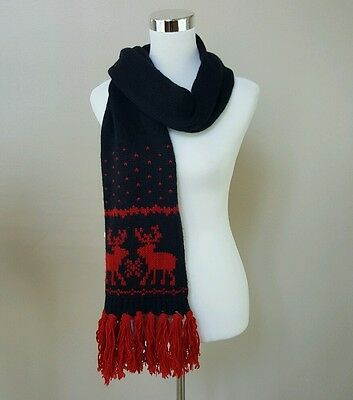 ABERCROMBIE KIDS Blue & Red Reindeer Knit Scarf Girls & Boy One Size 160 cm x 26