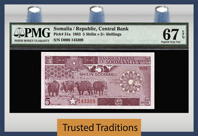 "TT PK 31a 1983 SOMALIA CENTRAL BANK 5 SHILIN=5/ SHILLINGS ""BUFFALOS"" PMG 67 EPQ"