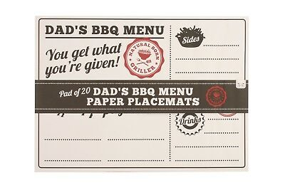 Pad Of 20 Dads BBQ Menu Paper Place Mat Summer Garden Party Table