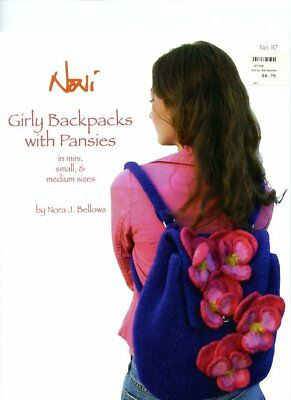 Girly Backpacks with Pansies - Noni Knitting Pattern #117 - Nora J. Bellows