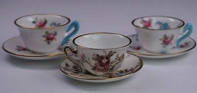 Vintage Crown Staffordshire Set Of 3 Mini / Miniature Cup & Saucer