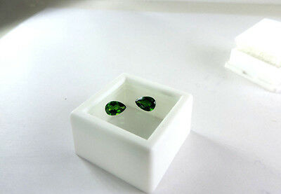 2pc Pear Cut Russian Chrome Diopside 1.05tcw faceted by me :)
