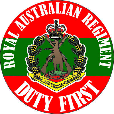 """duty First"" Royal Australian Regiment Laminated Vinyl Sticker 100Mm Dia"