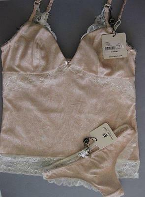 Pleasure State FIONA GRACE CAMISOLE and thong SMALL Rose Smoke / Ivory Rrp $140