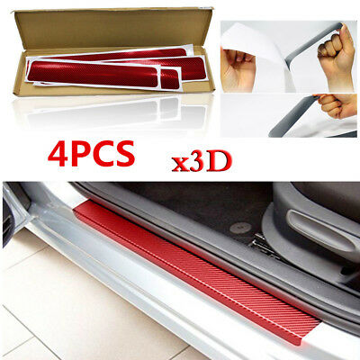 4pcs 3D Red Carbon Fiber Car Truck Scuff Plate Door Sill Cover Protector Strip