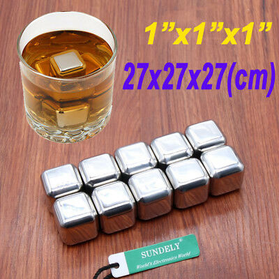 10 Block Stainless Metal Ice Cubes Whiskey Stones Beverage Cooler Drink Chiller