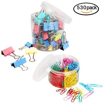 80 PCS Binder Clips Six Sizes Colored and 450 PCS Paper Clips Assorted Two Sizes