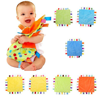 UK Seller Baby Boys Girls Taggy Colorful Security Blanket Cloth Comforter Cozy
