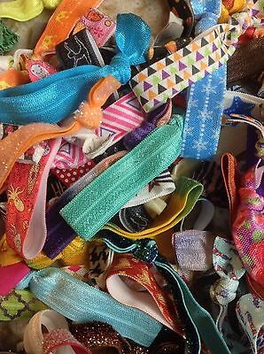 Elastic hair ties - multi-color, random lot, ponytail holder 100 pieces