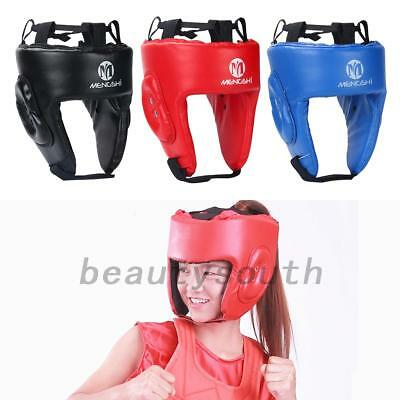Adjustable MMA Fighting Head Guard Leather Boxing Protector Headgear