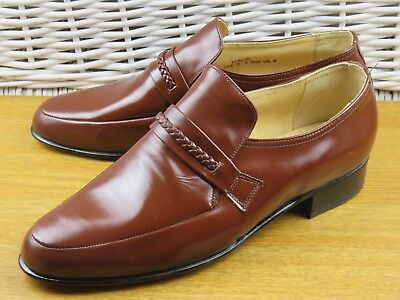 Mens Shoes Size 9 Town Classics All Leather Brown Loafers New Old Stock