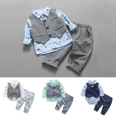 3PCS Baby Kids Boys Wedding Formal Party Suit Gentleman Tuxedo Outfits Clothes