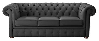 Modern Leather Chesterfield Handmade 3 Seater Sofa Settee Shelly Steel Grey