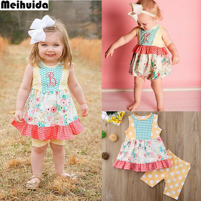 US Toddelr Kids Baby Girls Sister Matching Floral Romper Dress+Pants Outfits Set