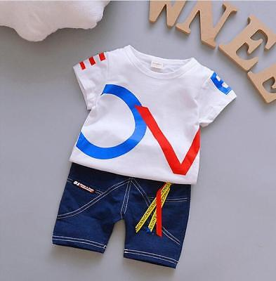 2pcs Summer Toddler Kids Baby Boy T-shirt Tops+Pants Cotton Clothes Outfits Set