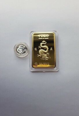 1 ounce24k gold plated bar .and 999 silver 1 gram coin